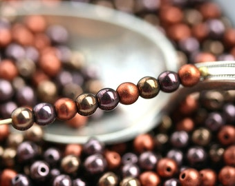 4mm Copper Beads mix, Brown Czech glass beads, round spacers, druk, small beads - about 90pc - 0773