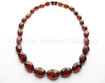 Baltic Amber Necklace, Luxury Cherry Color Faceted Olive Beads