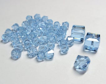 Alexandrite Swarovski Crystal Beads, Mixed Lot of 46 Crystals in Mixed Shapes and Sizes - 46 Crystals