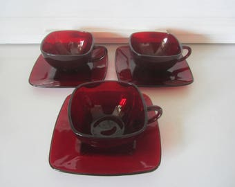 3 Ruby Charm Cups and Saucers Fire King Anchor Hocking