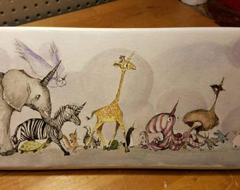 Zoo Animals, unicorns, original watercolor art, whimsical, elephant, zebra, pig, penguin, owl, squirrel art