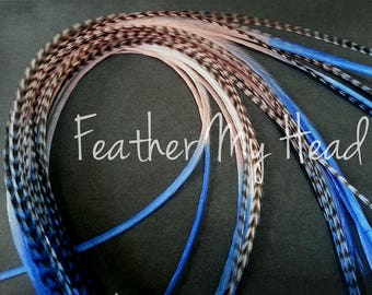 "Feather Hair Extensions - Multi Color Long 9""-12"" (23-30cm) - 5 Pc - Blue Pink - Sandy Beaches"