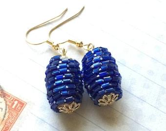 Blue Hand Beaded Earrings, Blue Seed Bead Earrings, Handmade, Dangle, OOAK