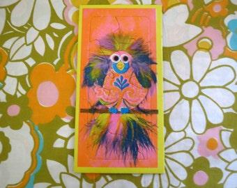 Vintage 1960s Retro Groovy MOD Art Print Puzzle Orange Pink Animal Feathers Bird