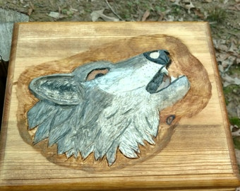 Wolf Pistol Ammo Pine Box Relief Carving  Man