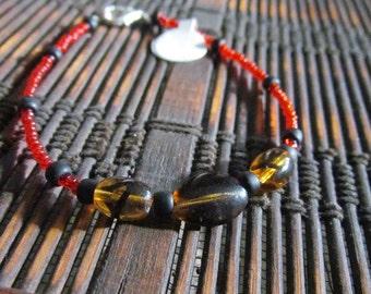 Tortoise Shell Glass Bead Bracelet