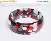 "CHRISTMAS SALE VERY Wide Bangle -  grey, black, red and white ""pill"" bangle - wide resin bangle infilled with pill shapes in grey, black, re"