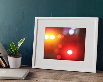 Red Bokeh Wall Decor, Fire Truck Lights, Urban Modern Photography Decor for Your Home - 5 sizes available