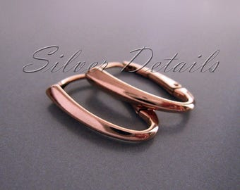 Rose Gold Vermeil Luxury Interchangeable Oval Lever back Ear Wire Sterling Silver 925  Earring finding reference code L103R