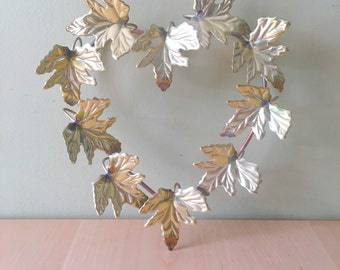 Vintage metal leaf foliage wall art wreath ready to hang