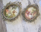 Vintage Filigree Frame Pair Metal Oval Frame Made in Italy  print Set of 2 Gold tone Ornate Small Frames