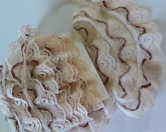 Destash Lace Ruffled Pale Pink and Brown Vintage Lace Supply 7 yards