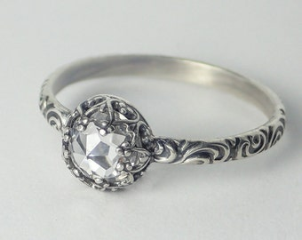 Classic Rose Cut CZ Ring, Rose Cut Clear Cubic Zirconia Sterling Silver Pattern Ring, Sterling Silver Ring Custom created in your size