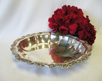 Silverplate Ornate Bowl - Silverplate Serving Dish or Vase - Wedding Decor, Home Decor, Holiday Server, Dining Room Accessory