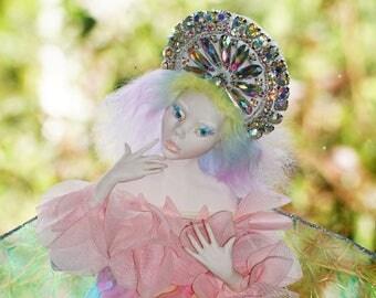 ooak fairy hand sculpted art doll from polymer clay handmade fantasy sculpture rainbow pixie