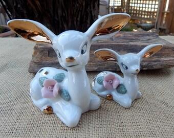 Porcelain Deer Figurines  ~  Porcelain Doe and Fawn Figurine  ~  Big Ear Deer Figurines  ~  Doe and Fawn Figurine  ~  Deer Figurines 1950's