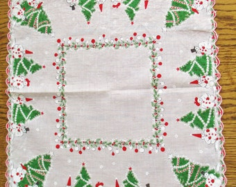Vintage Cotton Hankie Christmas Trees, Snowmen, Holiday Decorations Handkerchiefs Vintage Accessories Vintage Hankie By Vintagelady7
