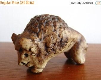 HOLIDAY SALE Vintage Tremar UK Ceramic Art Pottery Bison Buffalo Sculpture Figurine