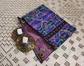 Small Assuit and Sari Scrap Zills Pouch- Vibrant Blue Silk Ikat Print Finger Cymbals Bag