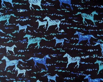 WILD HORSES !  In Blu'ish Teal on Black from Michael Miller Fabrics