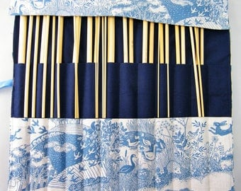 Straight knitting needle organiser. Knitting needle roll. Woodland fabric
