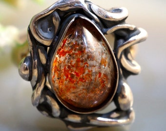 Sunstone Ring Sterling Silver
