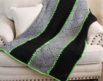 Guy Colored Afghan - Crochet Panel Blanket - Black and Grey with Bright Green Accent Yarn - Cozy Throw