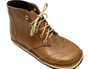 Handmade tan leather childrens boots. Boys boots. Girls boots. Toddler shoes.