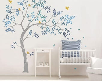 Nursery Tree Stencil Pack - Ideal for any Nursery or Child's Bedroom. Inc large tree, leaves, birds & optional trunk and branch extension!