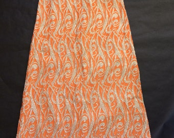 Vintage Glitzy Orange and Silver Long Skirt