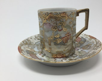 Hand Painted Japanese Landscape / Figural  Demi Tasse Cup and Saucer Gold Accents