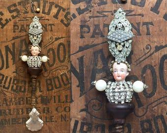 mixed media assemblage, jewelry encrusted royalty, Grand Duchess, original art dolls, doll head ornament, altered doll, by Elizabeth Rosen