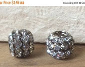 ON SALE Brass Stacked Rhinestone Barrel Bead Plumbum 17mm x13mm Qty 2