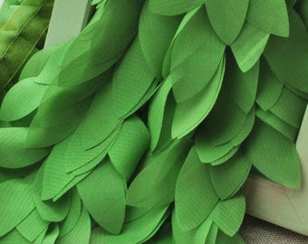 reserved for L- green Chiffon Leaves Trim, Chair Sashes, Bridal Trim, Costum Fabric, chiffon tree leaves, Wedding Decors