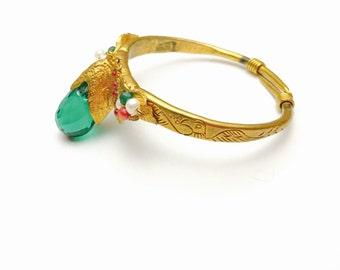 Egyptian Revival Bracelet, Huge Green Faceted Crystal, Tear Drop Shape, Gold Tone Over Brass, Item No. B117