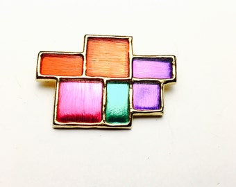 Vintage 1980's  Brooch, multicolor, gold tone, retro jewelry, Clearance Sale, Item No. B697
