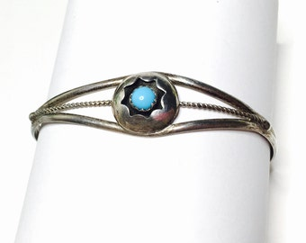 Vintage silver NAVAJO Bracelet, Tribal, Turquoise, native bangle, Item No. S180e