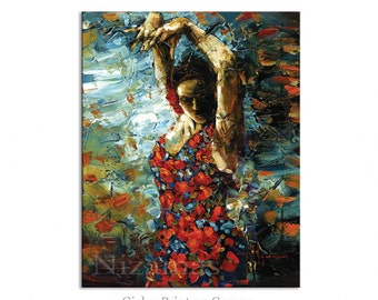 Flamenco Dancer - Abstract Art Giclee on canvas home interior DecorPaula Nizamas Ready to hang
