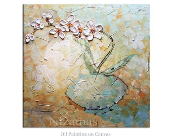 Oil Painting on canvas Palette Knife texture Orchid in a Blue Floral  Paula Nizamas ready to Hang