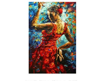 Flamenco Dancer - Abstract Art Giclee on paper home interior Decor