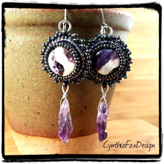 Amethyst Earrings, February Birthstone, Purple Crystal Beaded Earrings, Foxxy Jewelry from CynthiaFoxDesign