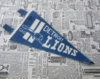 Vintage Detroit Lions Football Pennant 1970s Era 7 Inch Mini Felt Pennant Banner Flag vtg Collectible Vintage NFL Display Sports