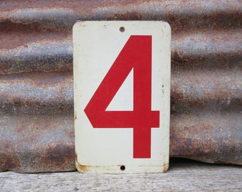 Vintage Metal Number 8 Sign or Number 4 Sign Urban Decor Double Sided Aged Off White and Red Gas Station Price Sign for Address or Display
