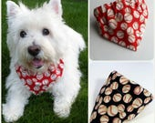 Baseball Dog Bandanas, Red or Blue, Scrunchie or Collar Slipcover