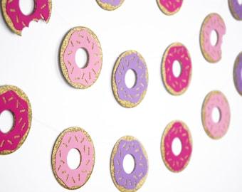 Glitter Donut Garlands, Gold Glitter Pink Purple Paper Garlands, Donut Party Decorations, Donut Party Supplies, Birthday Decor, First Bday