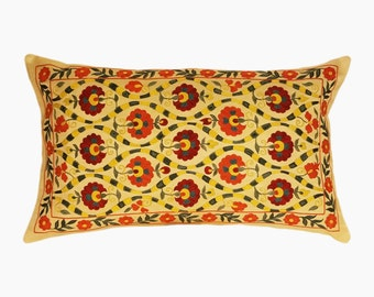 Handmade Suzani Pillow Cover msp785, Suzani Pillow, Uzbek Suzani, Suzani Throw, Boho Pillow, Suzani, Decorative pillows, Accent pillows