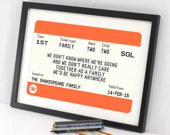Personalised Family Gift, Family Print, Train Ticket Print, Travel Quote, Family Quote, Travel Print, Family Sign, Family Name Print, Home