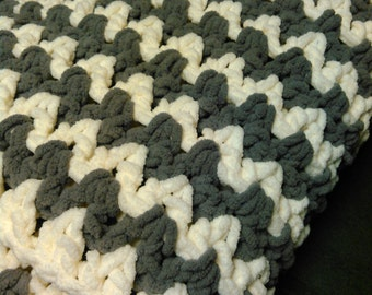 Soft Chevron Gray and White Lap Afghan