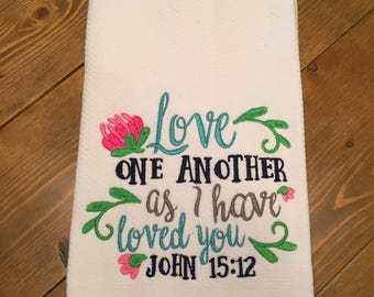 Religious Kitchen Towel Love One Another Tea Towel with Scripture