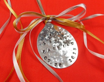 Just MARRIED Christmas Ornament, Just Married, Just Wed, Personalized Ornament for Couples, Custom Ornament, Vintage Silver Plated, Under 20